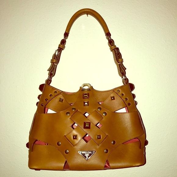 0dcc078c8368 Prada Bags | Woven Studded Lattice Brown Satchel | Poshmark